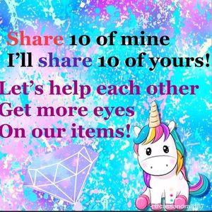 Let's get sharing!! 🦄🦋🧜🏼♀️🛍💕